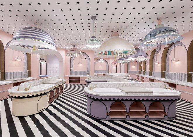 pastel pink interiors - swimming pool restaurant