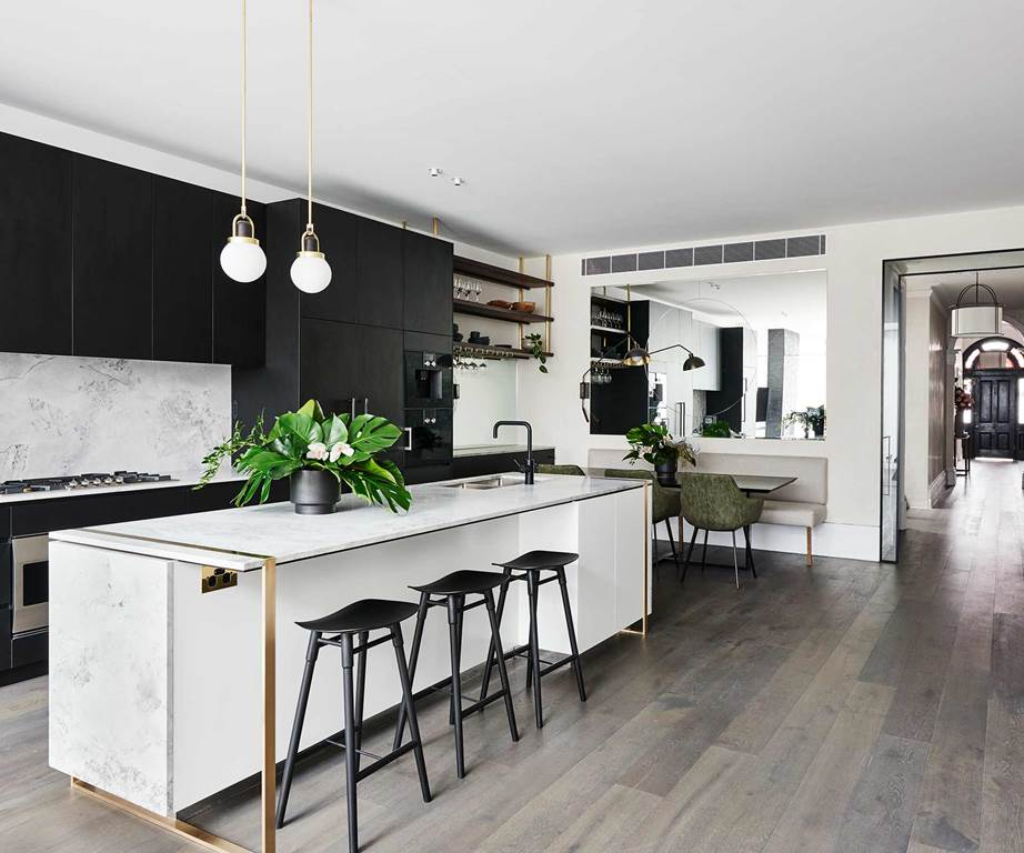 ideas for kitchens modern house marble and black with brass details