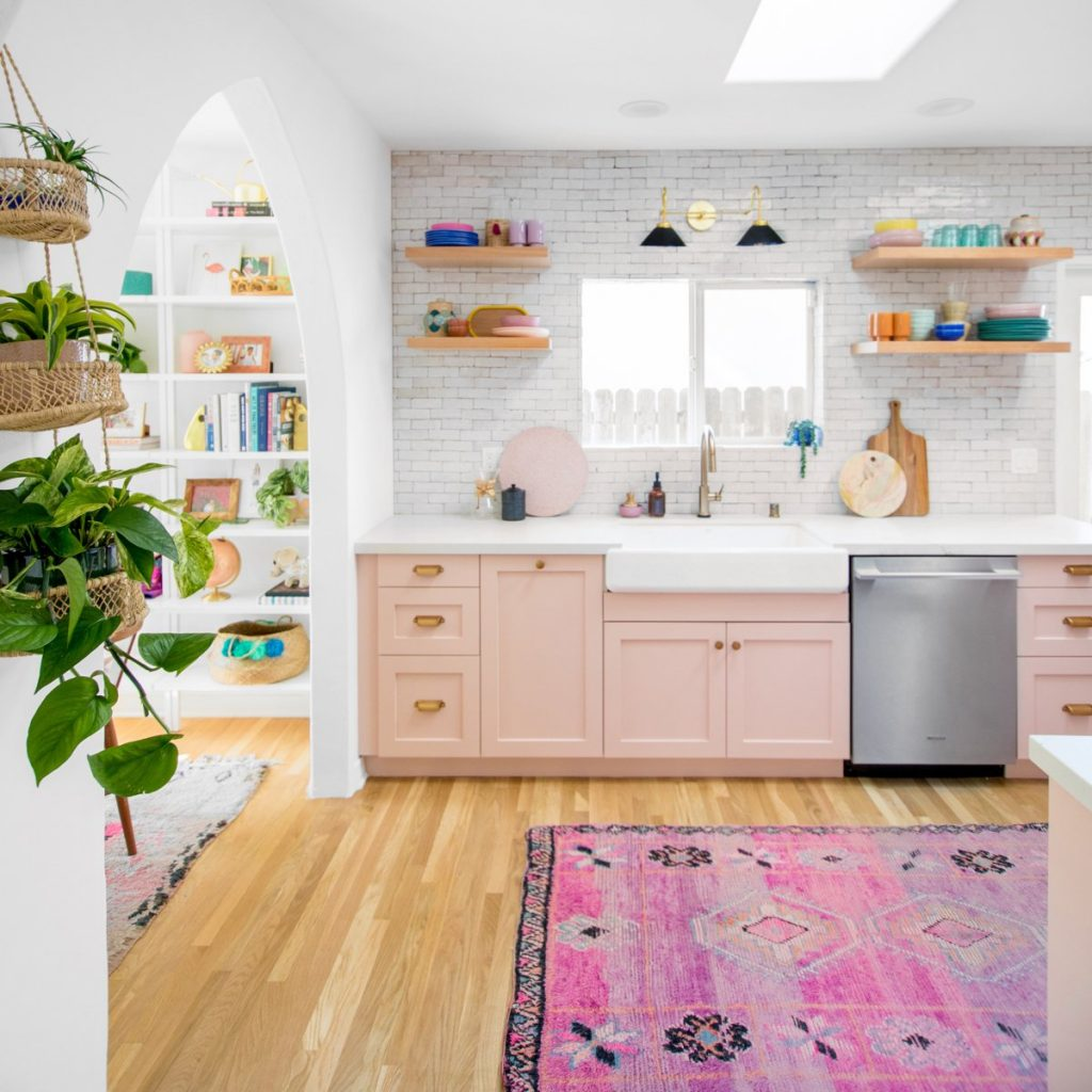 kitchen ideas pastel pink handmade kitchen