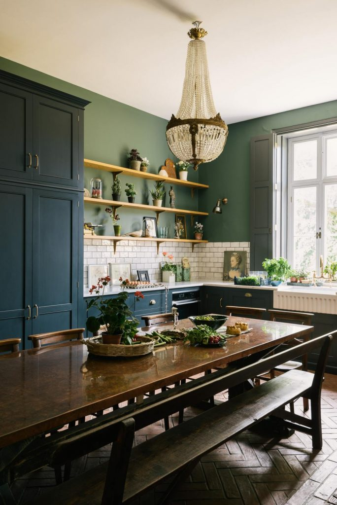 ideas for kitchen victorian house green and terracotta