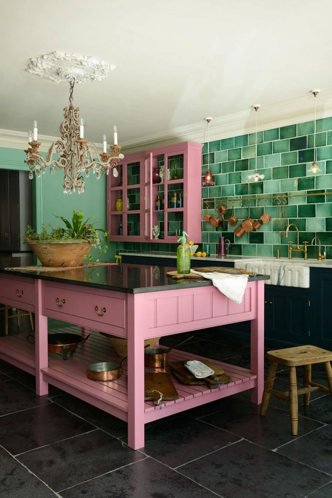 kitchen ideas colourful pink green classic english kitchen