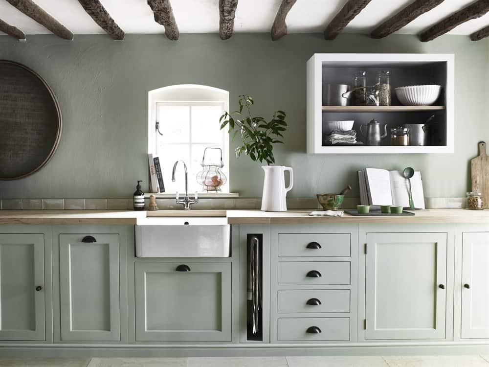 ideas for kitchen pale green mono colour