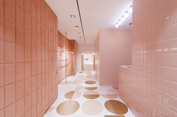 pink design for the new Valentino Store in Rome