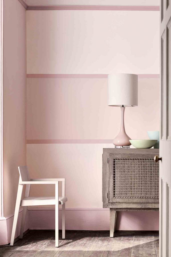 monochrome pastel pink painted walls