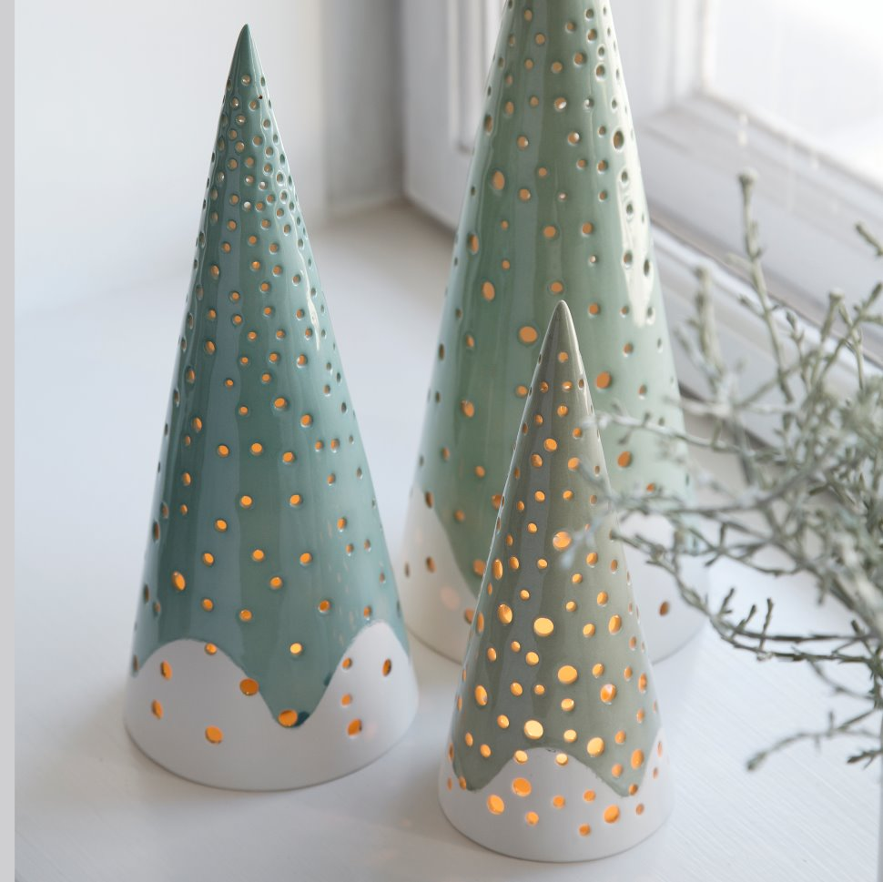 Nordic Christmas decoration ceramic trees with candle