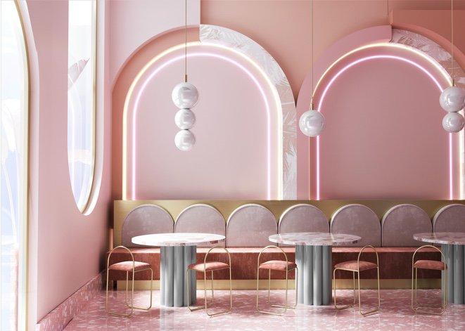 pastel pink interior design dining