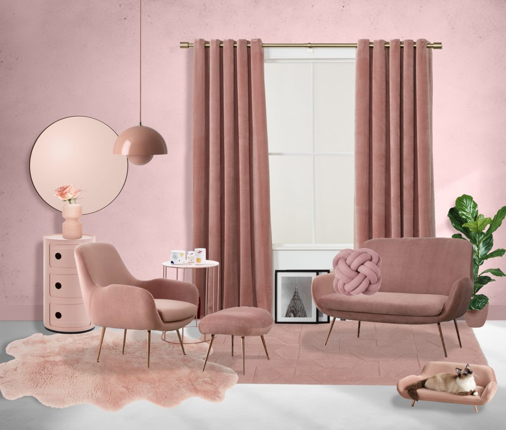 monochrome pink design for a living room