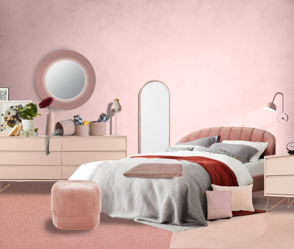 monochrome pink design for a bedroom